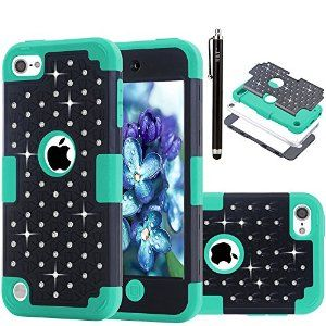 Amazon.com: iPod Touch 5 Cover Case, H&T(TM) Rhinestone Crystal Bling Hybrid Armor Dual Layer of Hard PC and Soft Silicone Protective Cover Skin for Apple iPod Touch 5 / iPod Touch 6 with 1 Stylus (Black+Blue): Cell Phones & Accessories