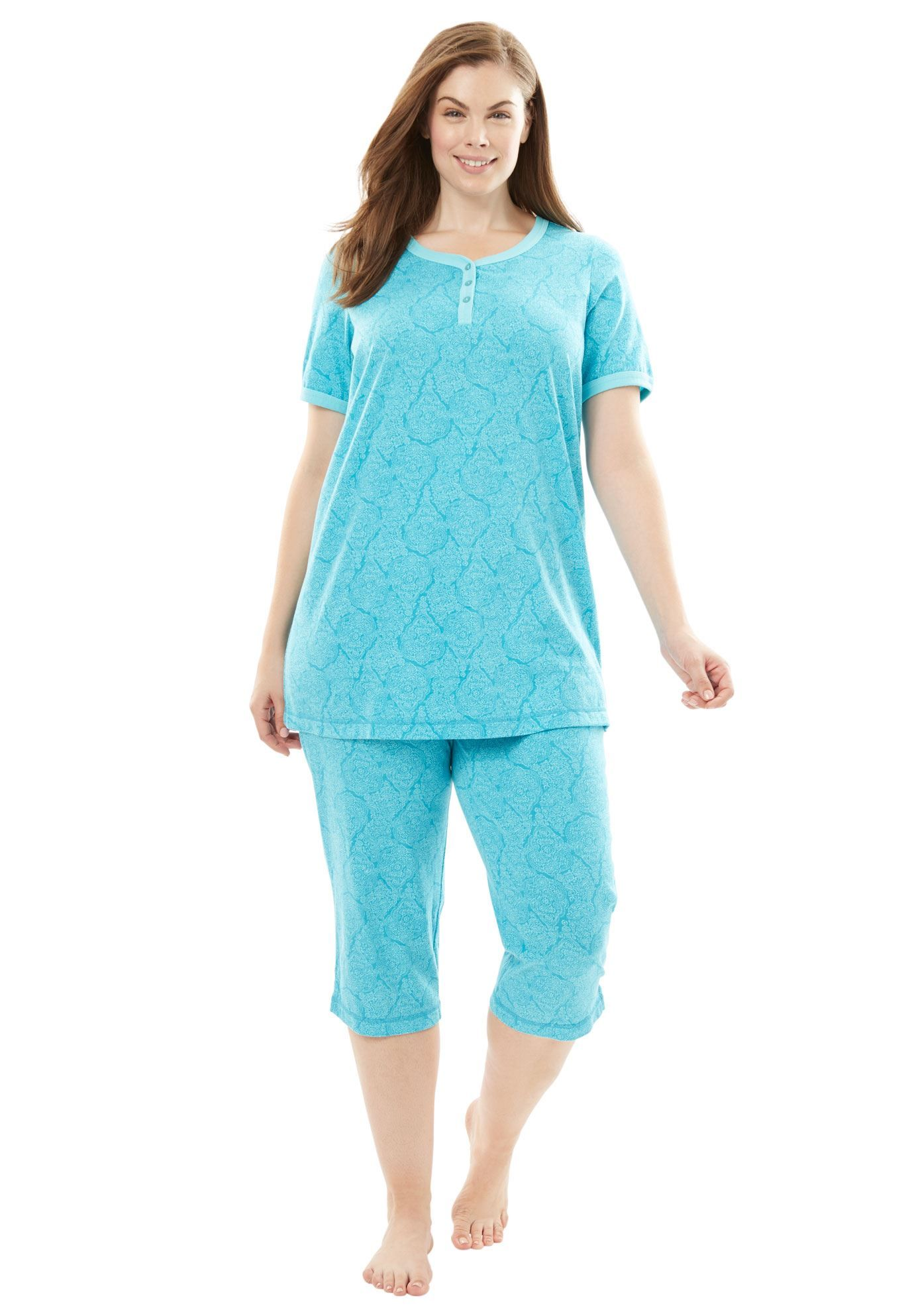 c204a686b Knit Henley Capri Pajama Set by Dreams   Co. - Women s Plus Size Clothing