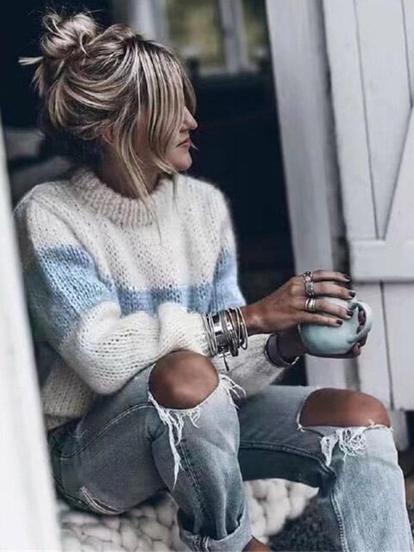 Dooerzi Loose Striped Long Sleeves Sweater Tops 1