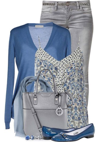 Outfit with Jeans – Dorothy Perkins Blue Ruffle Cami