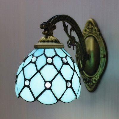 Buy Bronze Armed Blue Stained Glass Tiffany One Light Wall Sconce With Lowest Price And Top Service Wall Sconce Lighting Blue Ceilings Stained Glass Light