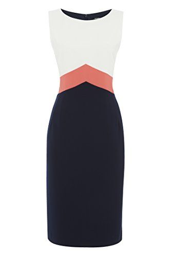 Colour Block Dresses Panelled Slimming Contrast Illusion Panel Dress