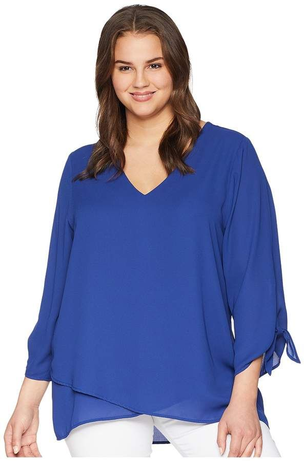 91d998c486a Karen Kane Plus Plus Size Crossover Tie Sleeve Top Women s Clothing ...