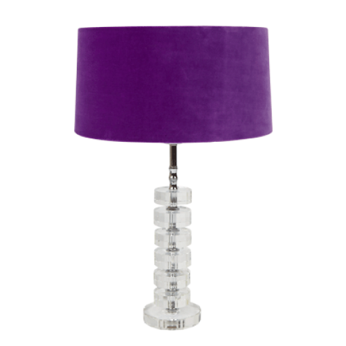Transparent Desk Lamp Base With Purple Velvet Shade Lamp Bases Lamp Desk Lamp