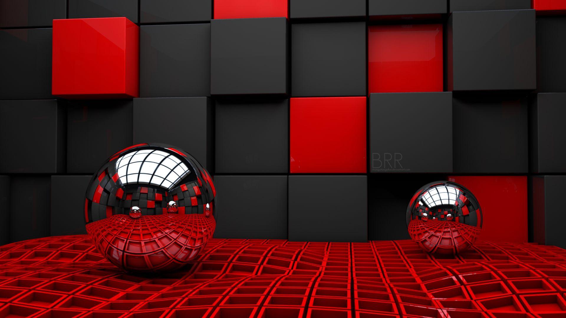 Red And Black Cubes Background Hd Wallpaper Cool 3d Wallpapers 3d Desktop Wallpaper