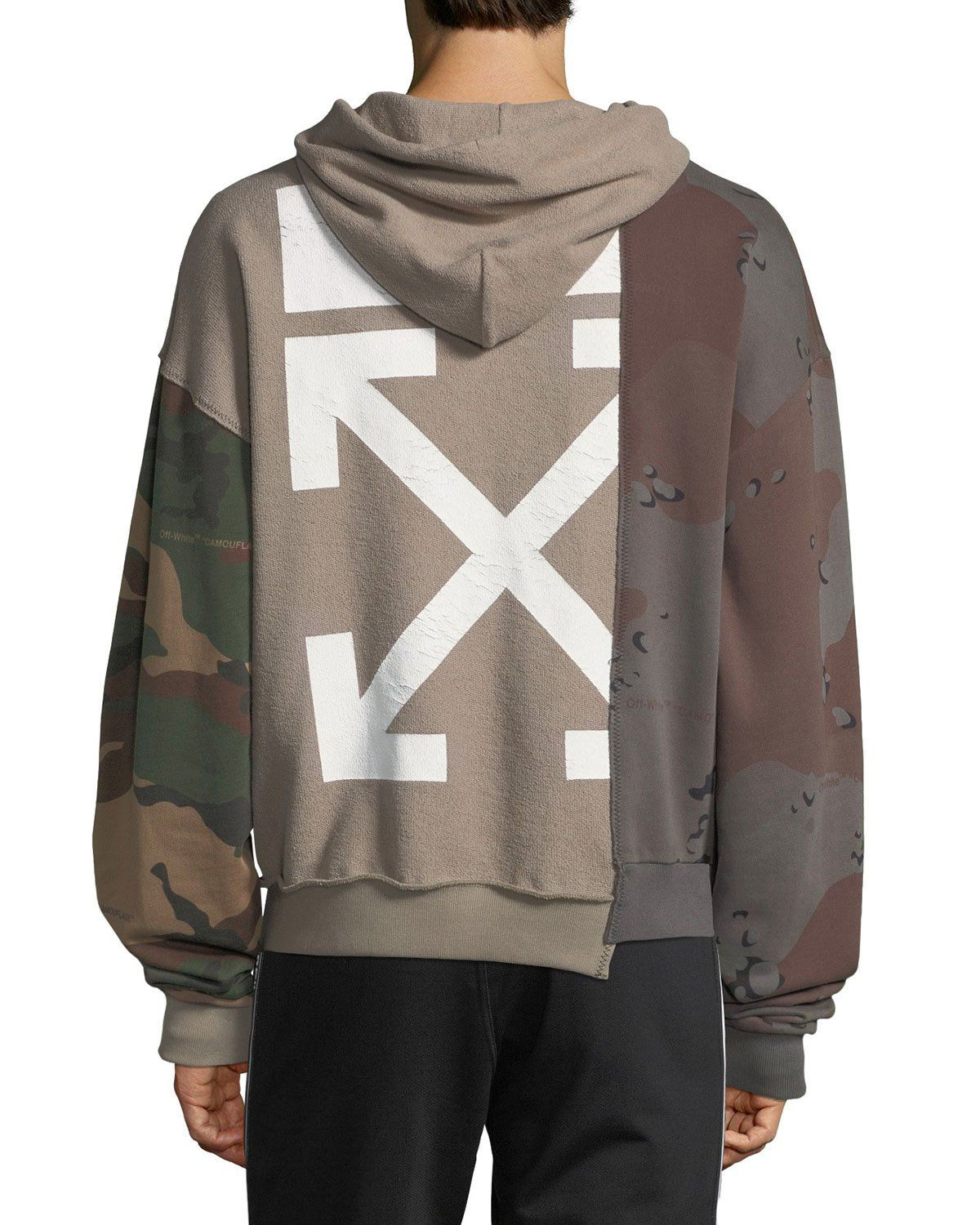 Off White Men S Reconstructed Camo Print Hoodie Sweatshirt Hoodie Print Off White Hoodie Men Off White Hoodie [ 1500 x 1200 Pixel ]