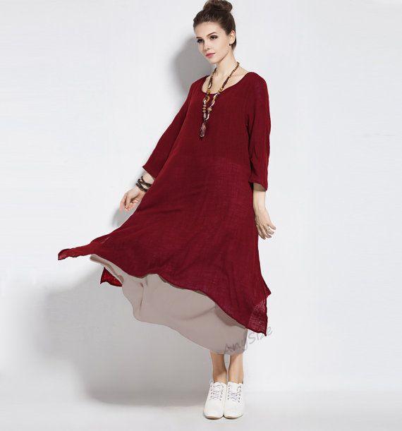c6c4218ae044 Any Size retro fake two piece soft linen & cotton dress plus size dress  plus size tops plus size clothing spring summer dress clothing