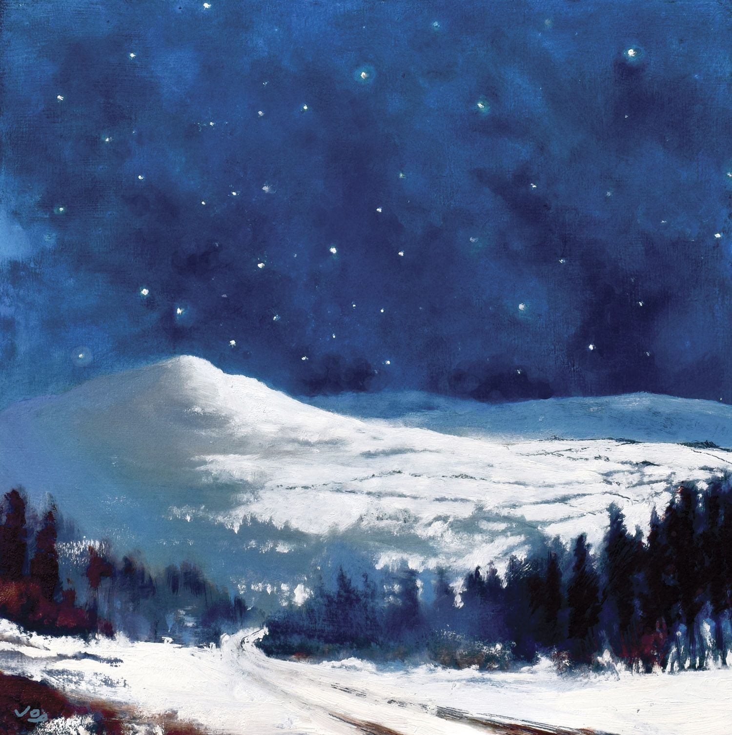 Snowscape By Night Mountain Landscape Painting Night Sky Painting Sky Painting