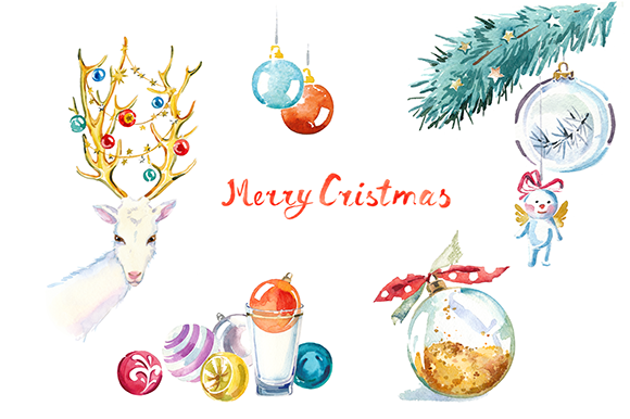 Christmas Illustrations Clip Art.Watercolor Christmas Clipart Set Illustrations On Creative