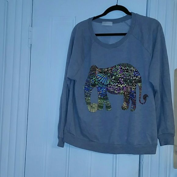 Elephant sweater Tribal print elephant sweater. Great condition only worn a few times. Size is 2x better suited for 1X or XL. Forever 21 Sweaters