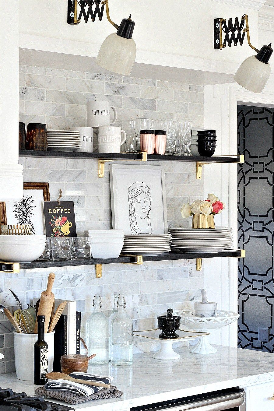 Black Gold Marble And Glam Kitchen Makeover Reveal With Open
