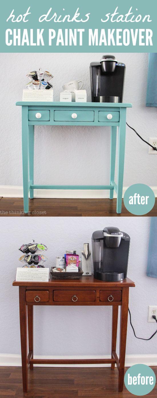 Hot Drinks Station - Chalk Paint Makeover using Chalk Paint - Comment Repeindre Un Meuble En Bois Vernis