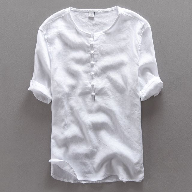 e2e5e5c1fa Chinese style simple fashion pure linen shirt men brand half sleeve summer men  shirts casual flax white shirt mens camisa