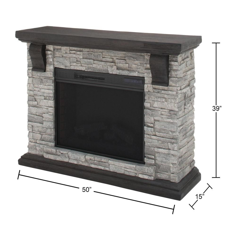 Home Decorators Collection Highland 50 In Freestanding Faux Stone Electric Fireplace Tv Stand In Gray With Mantel 103058 The Home Depot Stone Electric Fireplace Electric Fireplace Faux Stone Electric Fireplace