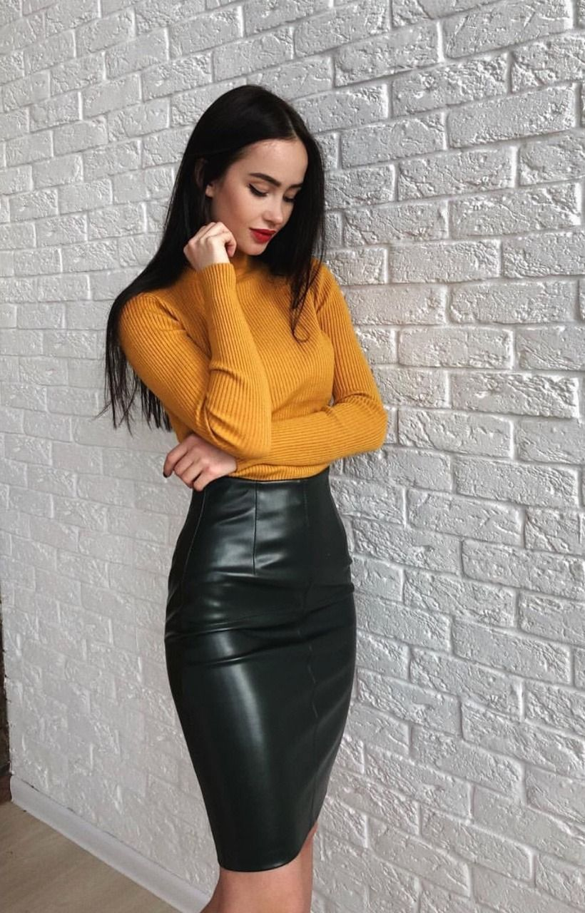 16ada9176 Orange sweater and black leather pencil skirt   Clothing (Women) in ...