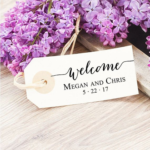 Custom Wedding Favor Tag - Wedding Welcome Stamp - Calligraphy Rubber Stamp - Rehearsal Favor - Welcome Tag Stamp - Elegant Wedding Stamp