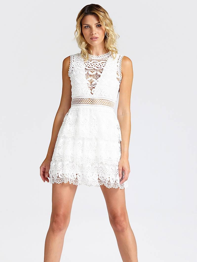 guess robe blanche crochet