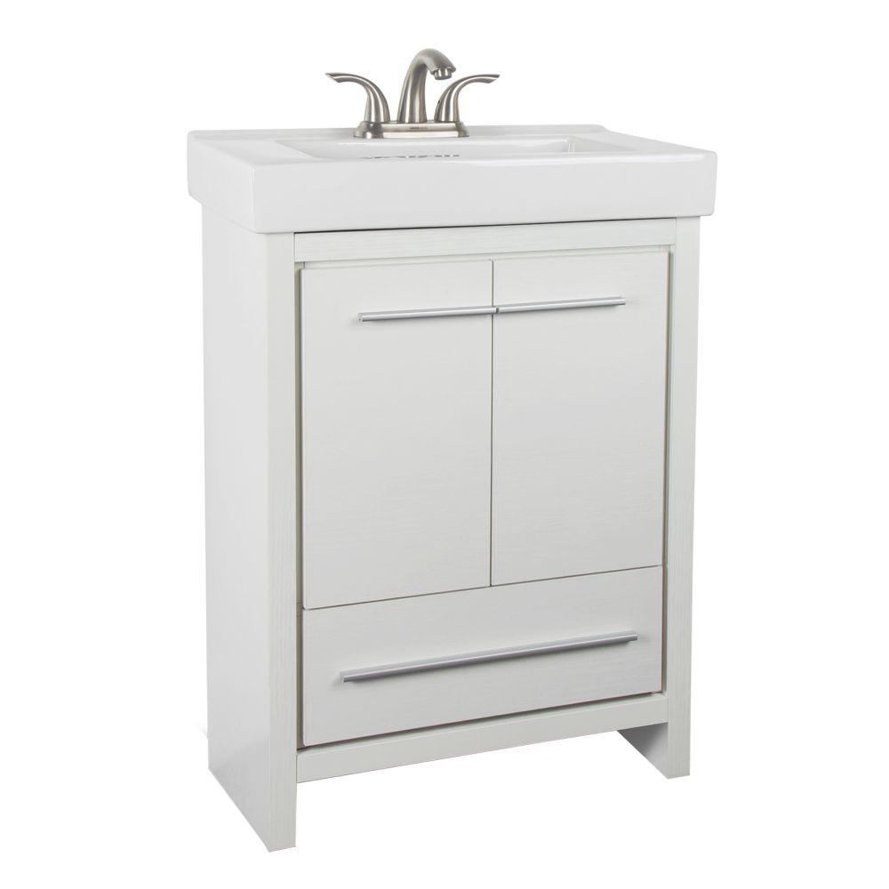 Romali inch  vanity in white finish with ceramic sink also bathroom rh pinterest