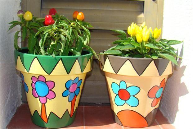 Macetas para tu Jardín ARREGLOS Pinterest Paint pots, Terra - maceteros para jardin