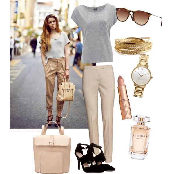 Beige, Gray and Gold. by anna-fredriksson on Polyvore featuring polyvore, fashion, style, H&M, Whistles, YooLa, Kate Spade, Ray-Ban, Charlotte Tilbury and Elie Saab