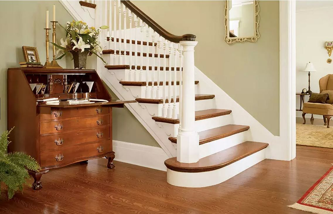 These Oak Treads And Foyer Floor Were Stained With Minwax