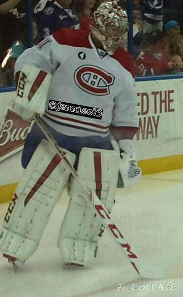 Carey Price 31 warming up @Tampa Bay March 16, 2015.   Go Habs Go!