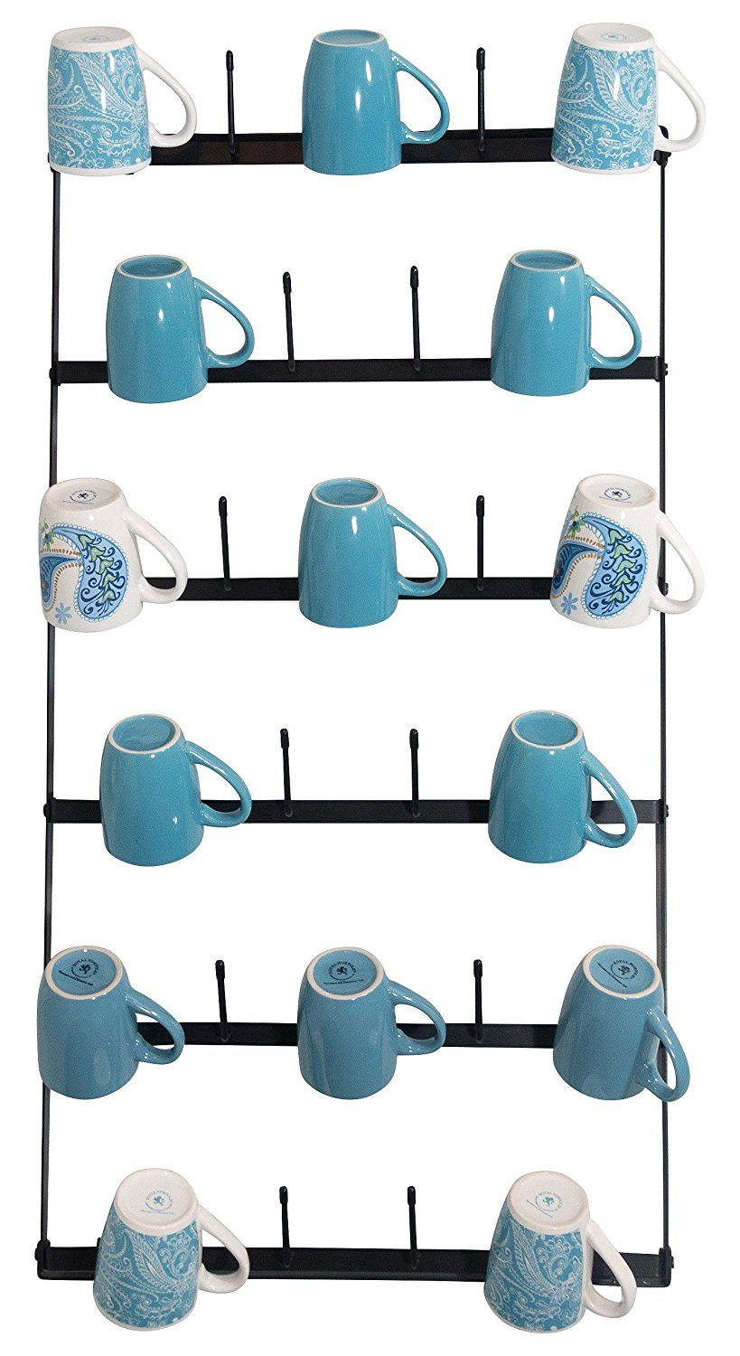 Wall Mounted Mug Rack 6 Row Metal Storage Display
