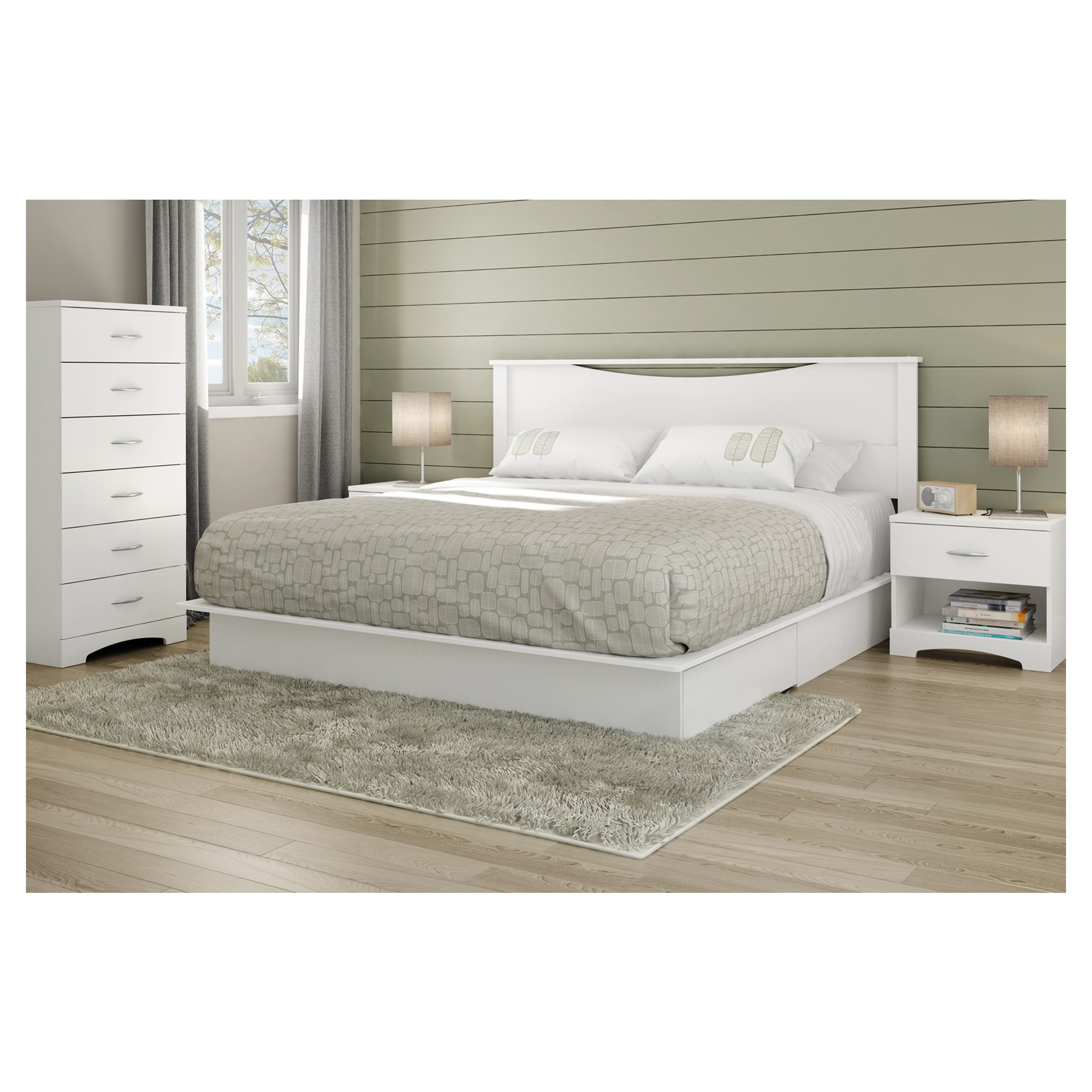Step One Platform Bed King Pure White South Shore Platform Bed With Drawers Bed With Drawers Platform Bed