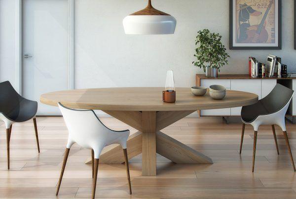 Massief eiken ovale tafel met houten kruispoot tafels en stoelen