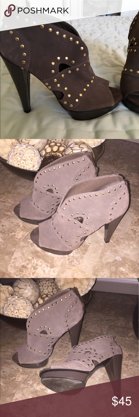 Steve Madden bootie Worm once indoors.  Open toe suede platform bootie.  So cute and comfy.  Gold detail. Steve Madden Shoes Ankle Boots & Booties
