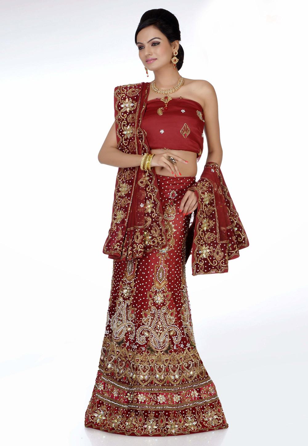 Buy Maroon Net Embroidered Bridal Lehenga Choli 172417