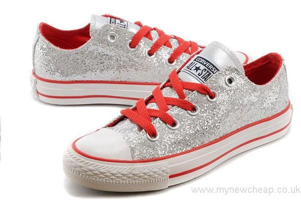 325cd57a59ec Silver Bling Shining Metallic Converse Chuck Taylor All Star Low Tops  Women s Sneakers Converse UK Outlet