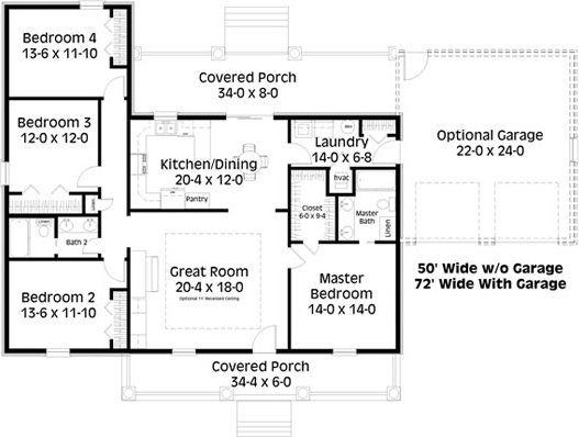 4 Bedroom 2 Bath Country House Plan Alp 03x9 House Plans Bedroom House Plans 4 Bedroom House Plans