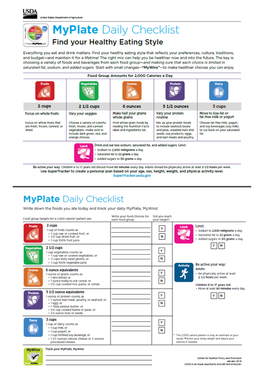 The Myplate Daily Checklist Formerly Daily Food Plan Shows Your