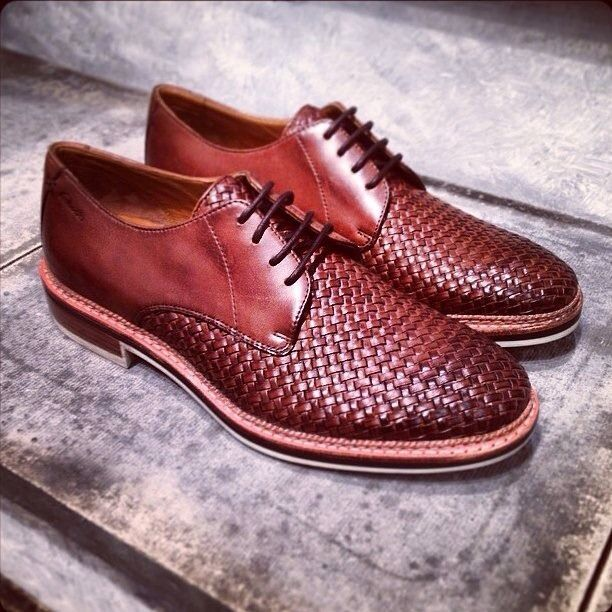 Red Woven Derby men's leather shoes