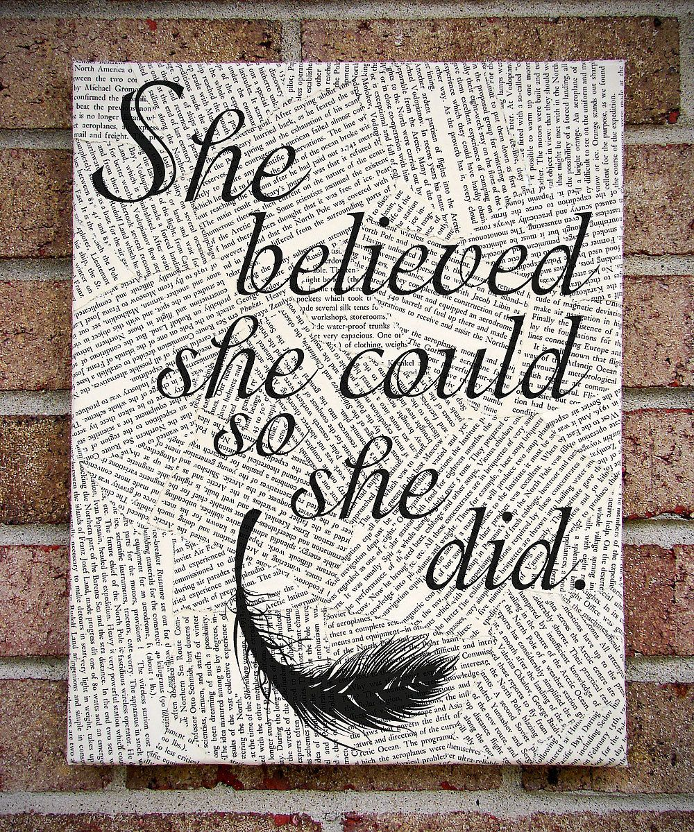 Quote Wall Art She Believed Could So Did Canvas