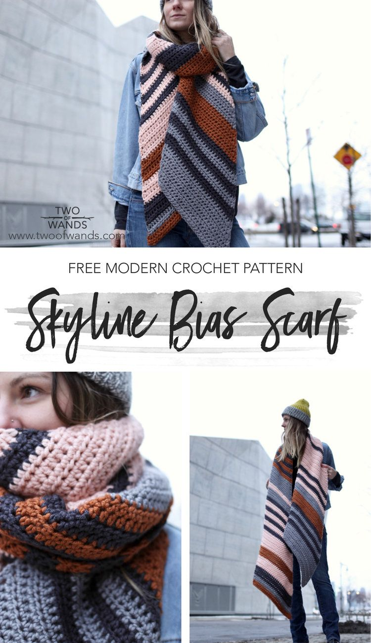 Skyline Bias Scarf #crochetscarves