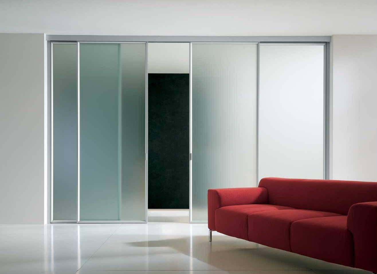 Bosca Scorrevole Light00 Ante Alluminio Con Vetro Acidato Bianco  ~ Puerta Corredera Cristal Precio