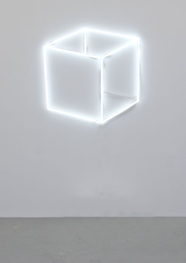 Jeppe HeinNeon Cube Perspective (Neon Cube 2D), 2013Neon tubes, transformers and acrylic