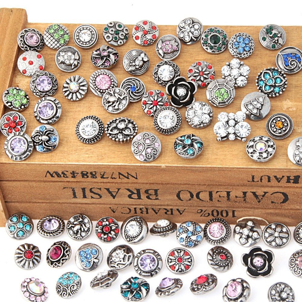wholesale 50pcs/lot mix styles colors 12mm small button snap jewelry interchangeable ginger snap button charm
