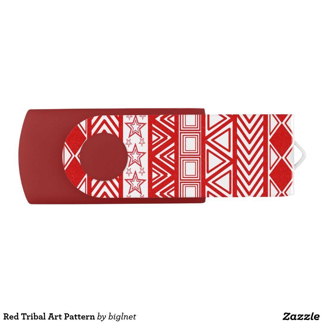 Red Tribal Art Pattern Swivel USB 2.0 Flash Drive