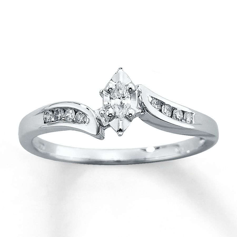 Kay Diamond Engagement Ring 1 8 Ct Tw Marquise Cut 10k White Gold