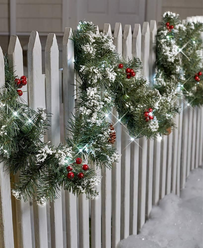 Lighted Garland Porch Patio Fence Indoor Outdoor Christmas Holiday Decor Afoyft