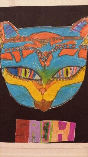 Piirtämisharjoitus: värikäs kissa