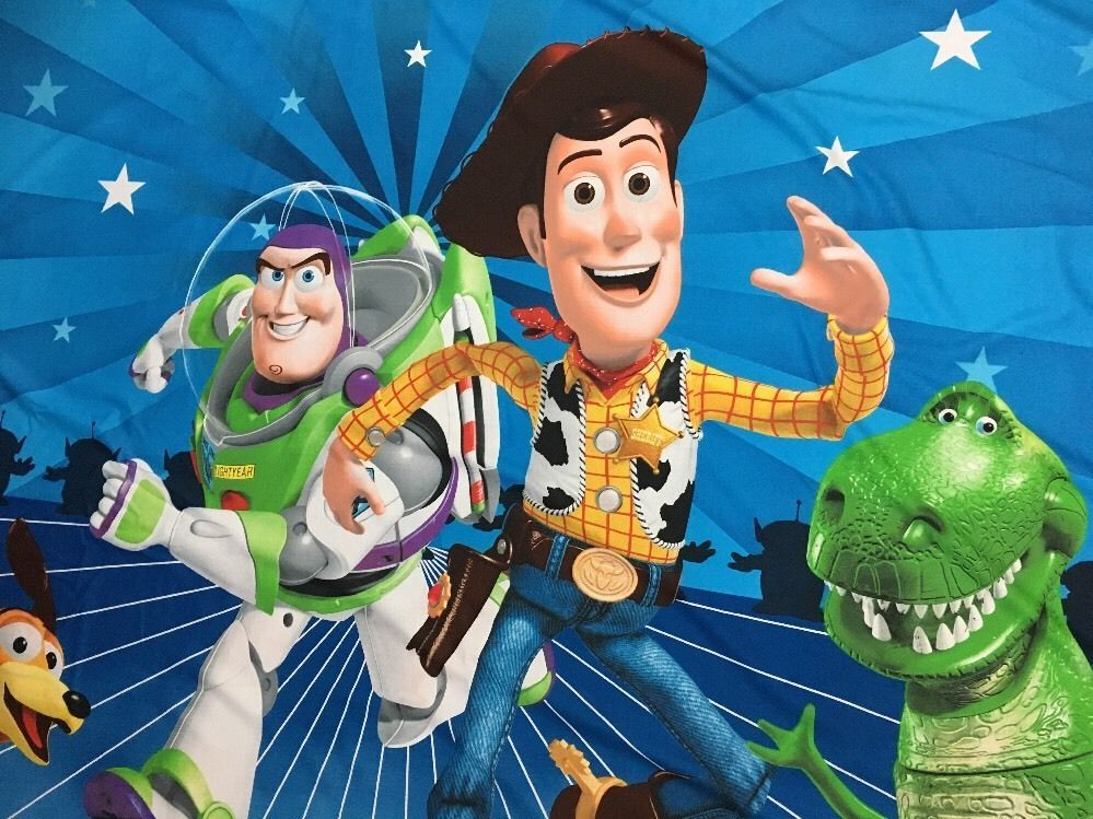 Disney Pixar TOY STORY Shower Fabric Curtain Toys At Play Blue Buzz Woody Novelty