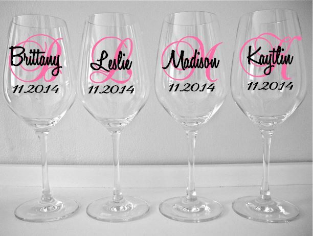 Personalized Wine Glass Decal Monogram With Name And Date Bridal