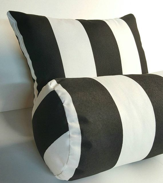 Indoor Outdoor Bolster Pillow Cover Premier Prints Vertical Stripe Black N  White With Zipper