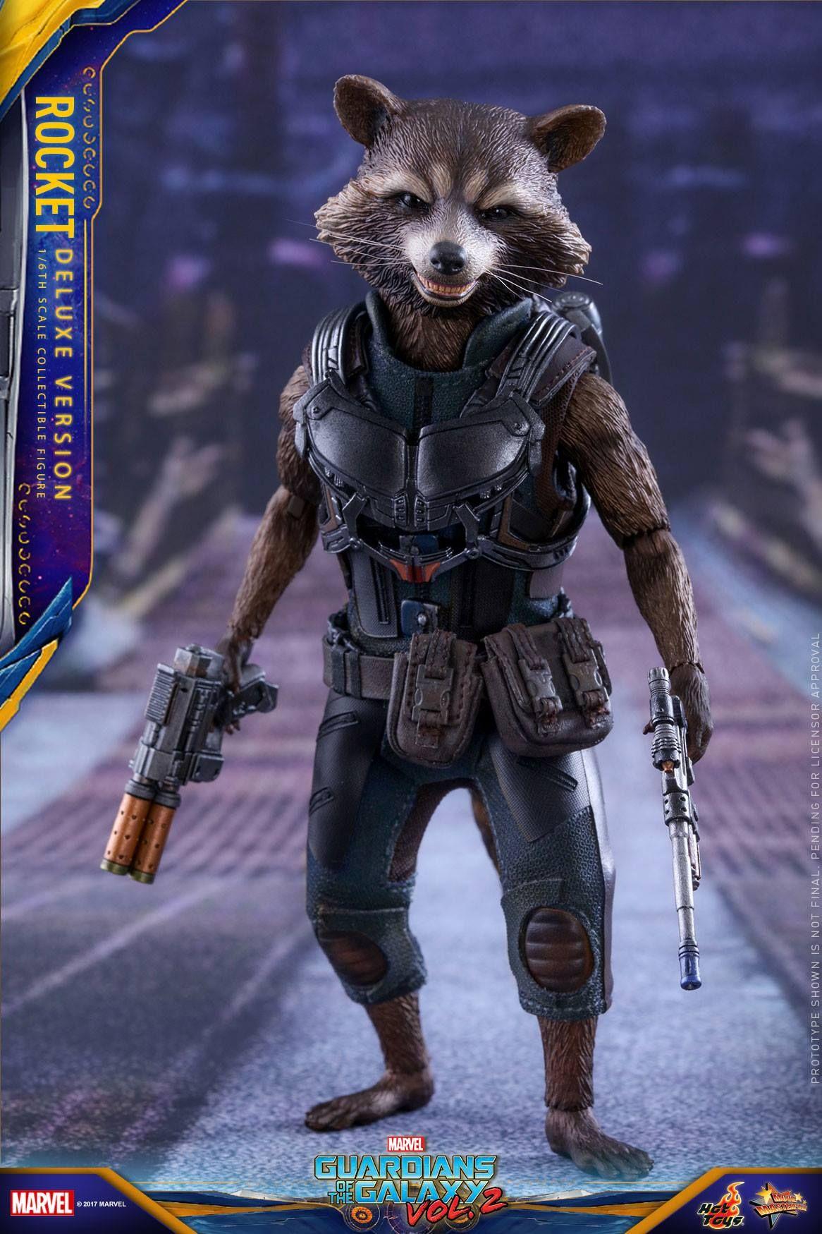 Gotg Vol 2 1 6th Scale Rocket Collectible Figure Deluxe Ver Hot Toys Rocket Raccoon Superhero Wallpaper