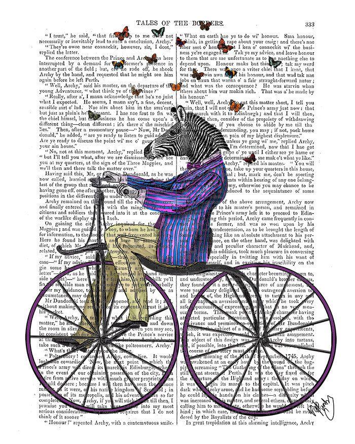 Zebra Anthropomorphic Bicycle Art Funny Animal Print Cycling Etsy Zebra Illustration Etsy Art Zebra Pictures