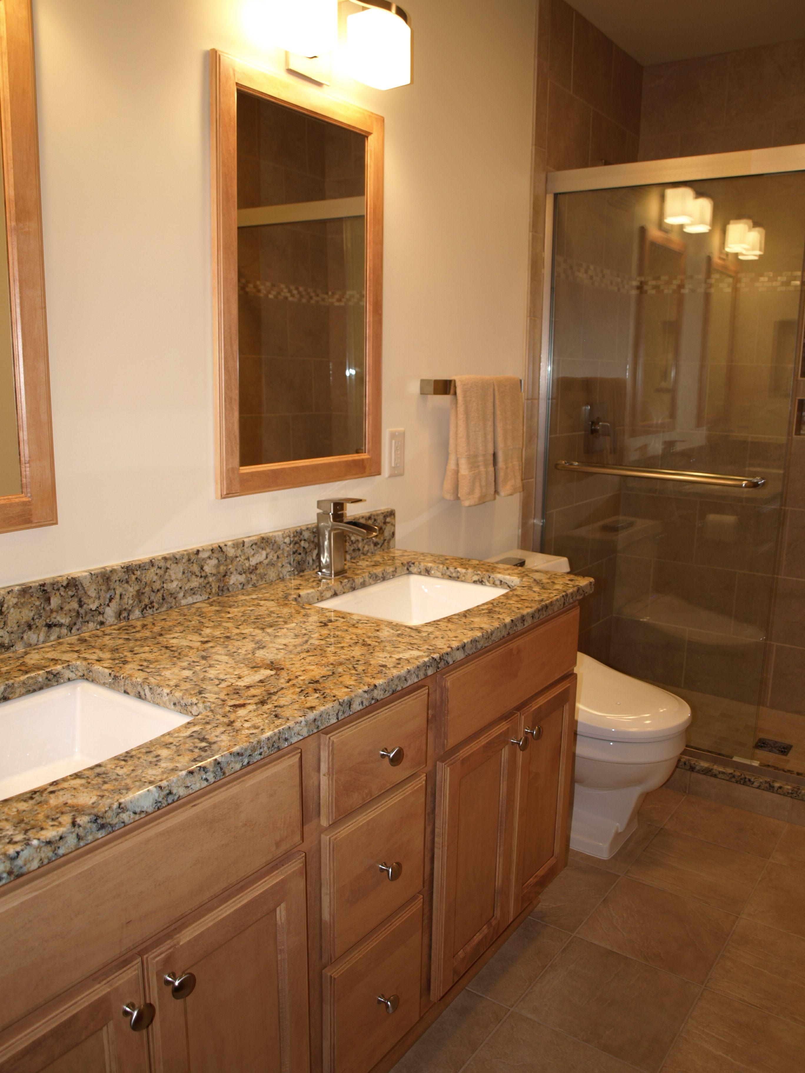 """Venetian Gold"" granite with custom maple cabinets | Ohana ... on Bathroom Ideas With Maple Cabinets  id=60953"